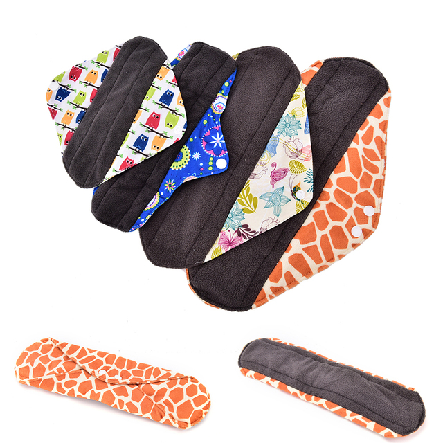 955f4178fcfcd Charcoal bamboo inner washable reusable Feminine Hygiene menstrual pads  sanitary pads lady cloth pad panty liner
