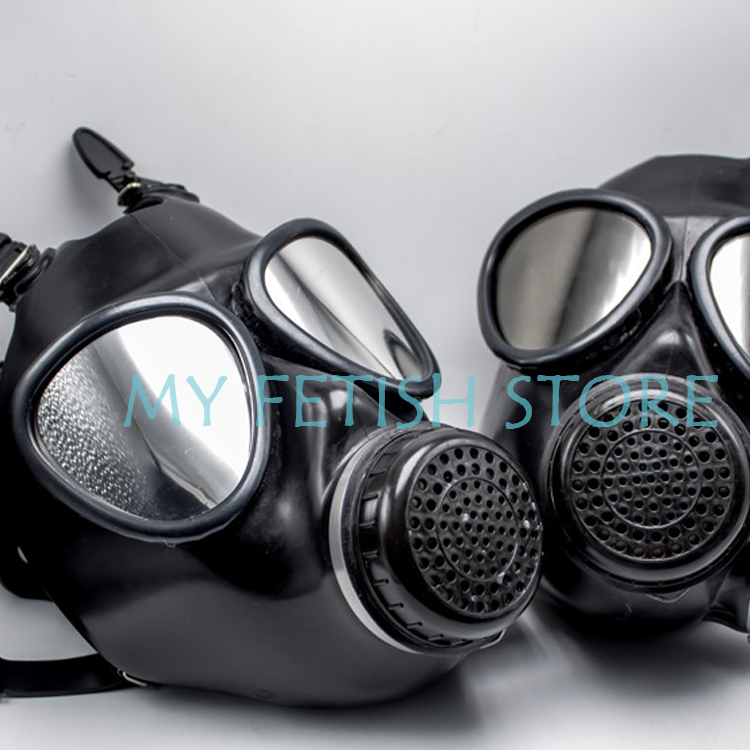 (DM310)Quality latex rubber half face adjustable conquer gas mask fetish hood accessory breathing control equipment fetish wear