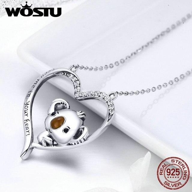 WOSTU collar con colgante de koala para mujer y niña, de Plata de Ley 925 de alta calidad, joyería encantadora, regalo para novia BKN256