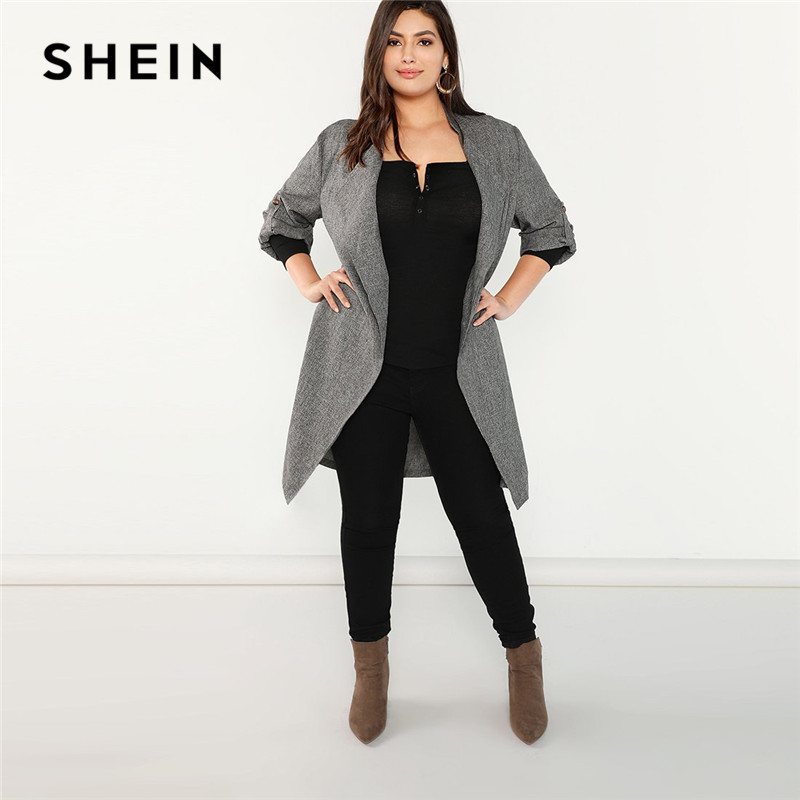Aliexpress.com : Buy SHEIN Plus Size Grey Waterfall Collar ...