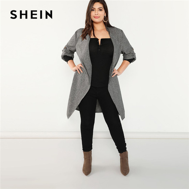 97a913c2ea4 SHEIN Plus Size Grey Waterfall Collar Roll Tab Sleeve Open Stitch Women  Office Wear Long Trench Coat 2018 Elegant Lady Outerwear