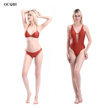 2019 Bikini Sets Women Swimsuit suit for High Waist Halter Bathing Suit Sexy Swimwear Push Up Solid color Biquini