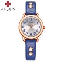 Mujeres correa de cuero simple moda casual watch Girls popular ronda analógicas relojes de cuarzo Original Julius 933 horas Envío gratis