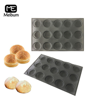 Meibum Black Porous 15 Cavity Silicone Mold Hamburger Cookie Bun Mould Round Milky Bread Pan Non Stick Bakeware Baking Tools