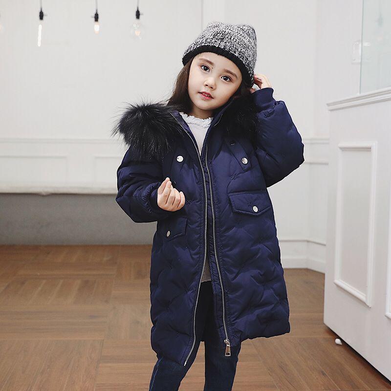 Girls Winter Coat Duck Coat Warm Kids Outwear Hooded Children Down Jackets Girls Cotton Coat Kids Duck Down Coats button tab cuffs hooded belted coat
