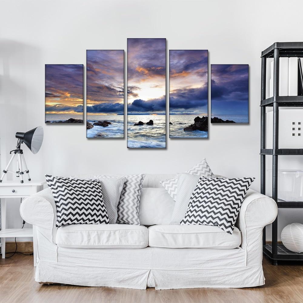 5 панелей надруковані HD морем хмар - Домашній декор