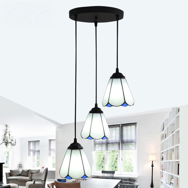 Tiffany Mediterranean dining room Pendant lamps European style simple triple staircase modern living room lamp Pendant Lights european pendant light crystal lamp ceramic living room lamps simple modern dining room bedroom seminal hotel pendant lights