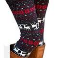 2016 Moda Inverno Quente Mulheres Magras Leggings Veados Flor Impresso calças Lápis Mulheres Elásticas Leggings #17