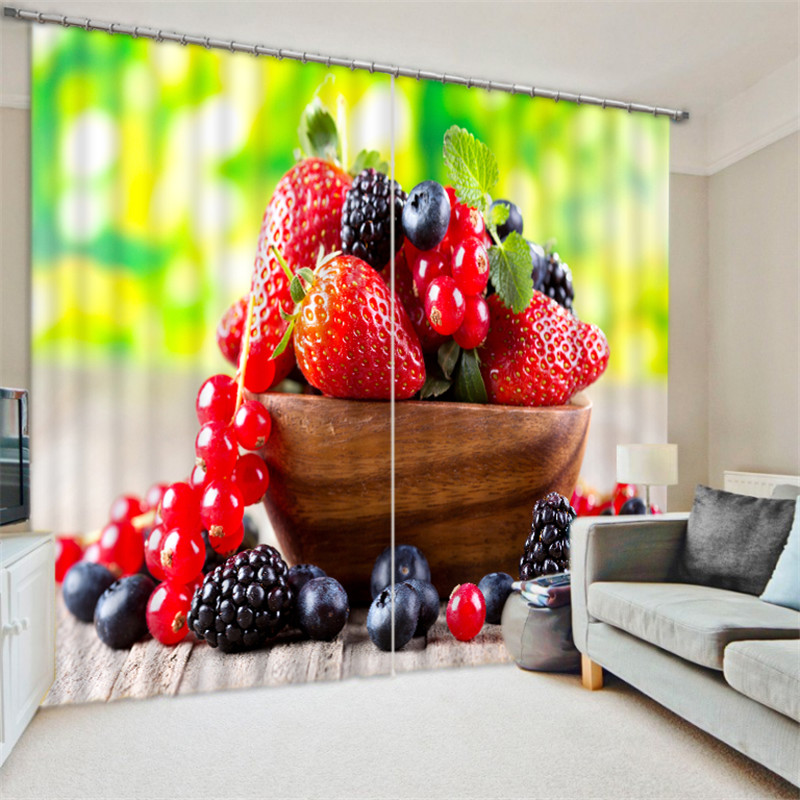 Kitchen Curtains Strawberry Luxury Blackout 3D Window Curtains For Living Room Bedroom Drapes cortinas Rideaux Customized size