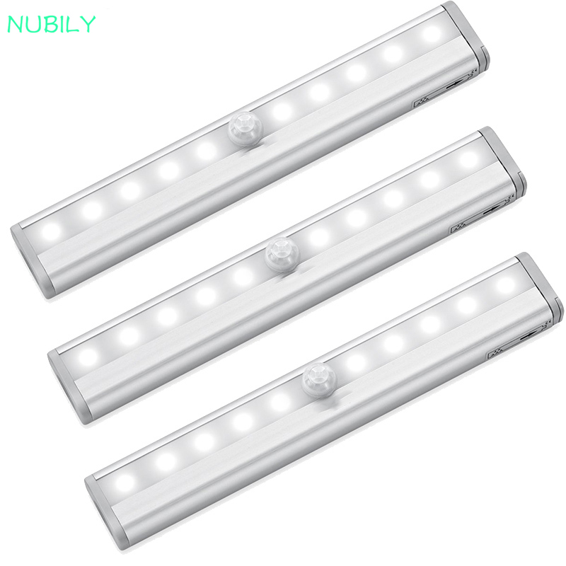LED PIR Motion Cabinet Light Warm Cool White Night Lamp Battery Operated Portable Stairs Wardrobe Bar Light Magnetic Tape