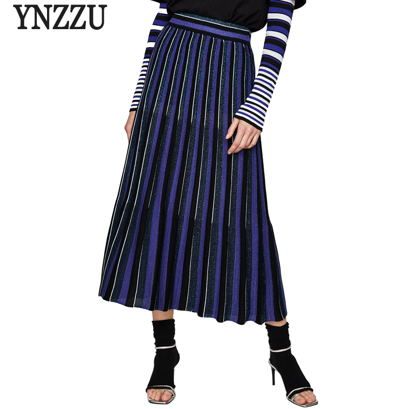 2018 New Autumn Knitted Women Skirt Chic Striped Pleated High Waist Blingbling Maxi Skirt Women Streetwear High Quality AB101
