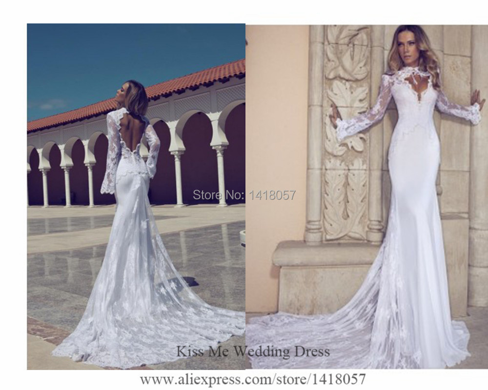 2015 sexy russian berta wedding dresses lace mermaid bridal gowns long sleeves open back vestido de noiva manga longa h540