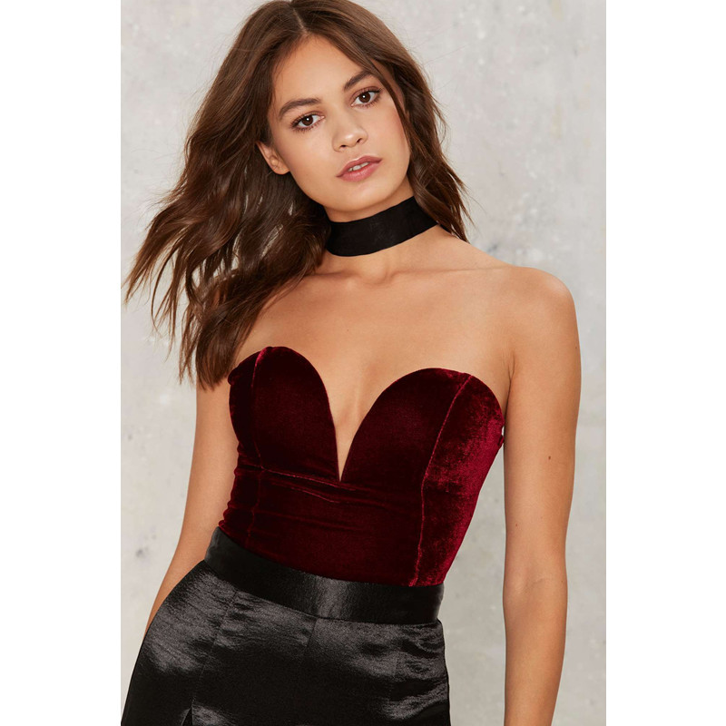 Aliexpress.com   Buy Black Red Velvet Bodysuit Rompers Womens Jumpsuit 2018  Deep V Strapless Sexy Bodysuit Female Club Party Backless Cross Bodysuit  from ... cfd24e599