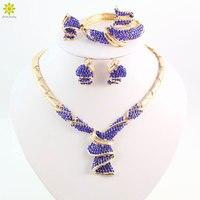 באיכות גבוהה אופנה סטי תכשיטי חרוזים אפריקאים כלה ניגרית כחול קריסטל דובאי זהב צבע ערכות תכשיטים גדולים תלבושות