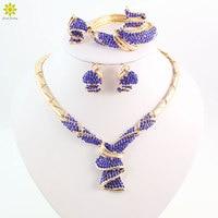 Fashion High Quality Nigerian Wedding African Beads Jewelry Sets Blue Crystal Dubai Gold Plated Big Jewelry