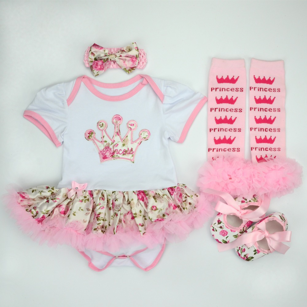 купить Baby Christmas Clothing Romper Dress 4pcs set Infant Bebe Girls Birthday Costumes Jumpersuit+stockings+Headband+shoes Outfits по цене 781.09 рублей