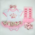 Baby Christmas Clothing Romper Dress 4pcs set Infant Bebe Girls Birthday Costumes Jumpersuit+stockings+Headband+shoes Outfits