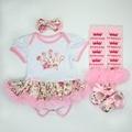 Roupas de natal do bebê romper jumpersuit dress 4 pcs set infantil bebe meninas trajes de aniversário + meias + + headband do calçado outfits