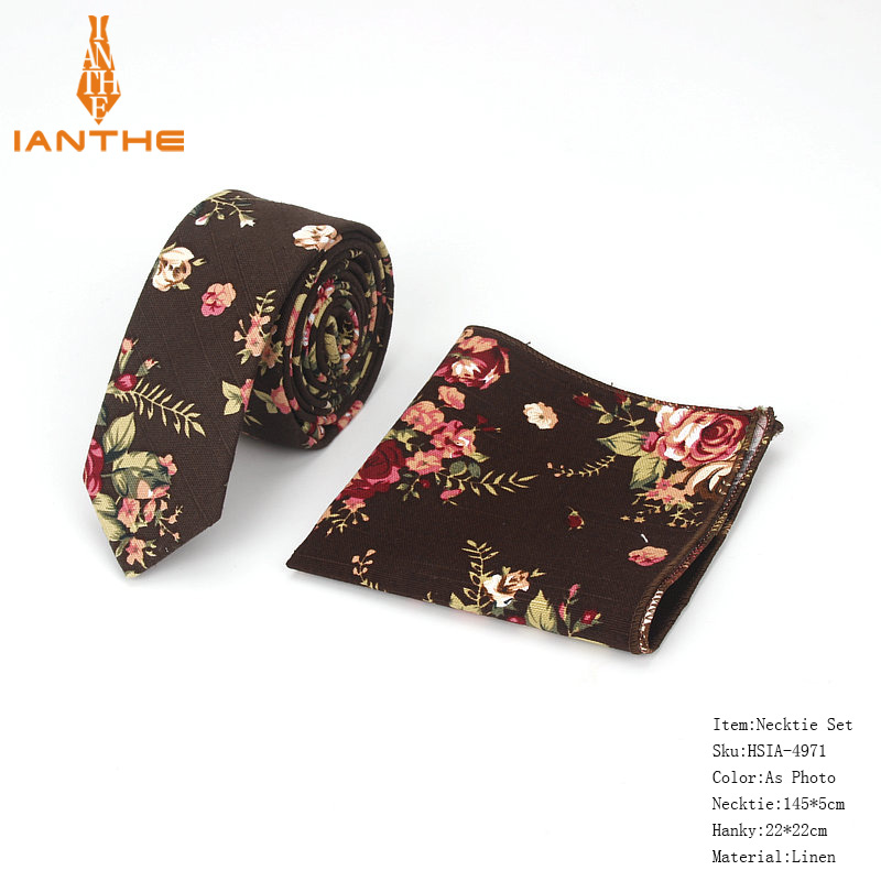 Brand New Men's Classic Paisley Narrow Neck Tie Pocket Square Sets Men Fashion Wedding Slim Flower Necktie Hankies Sets 2pcs