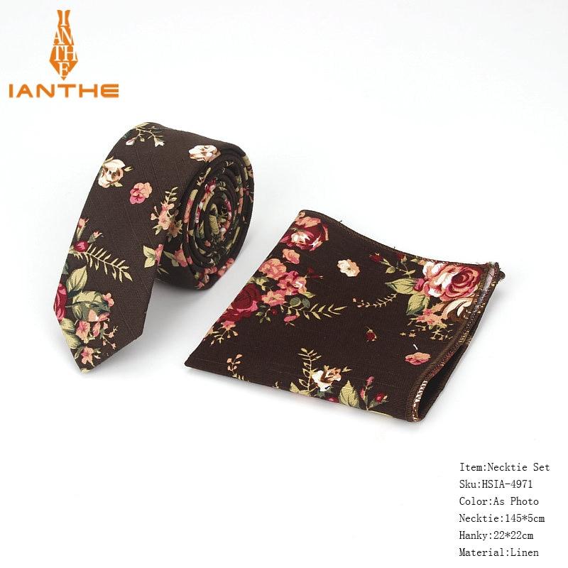 Brand New Men's Classic Paisley Narrow Neck Tie Pocket Square Sets Men Fashion Wedding Slim Flower Necktie Hankies Sets 2pcs