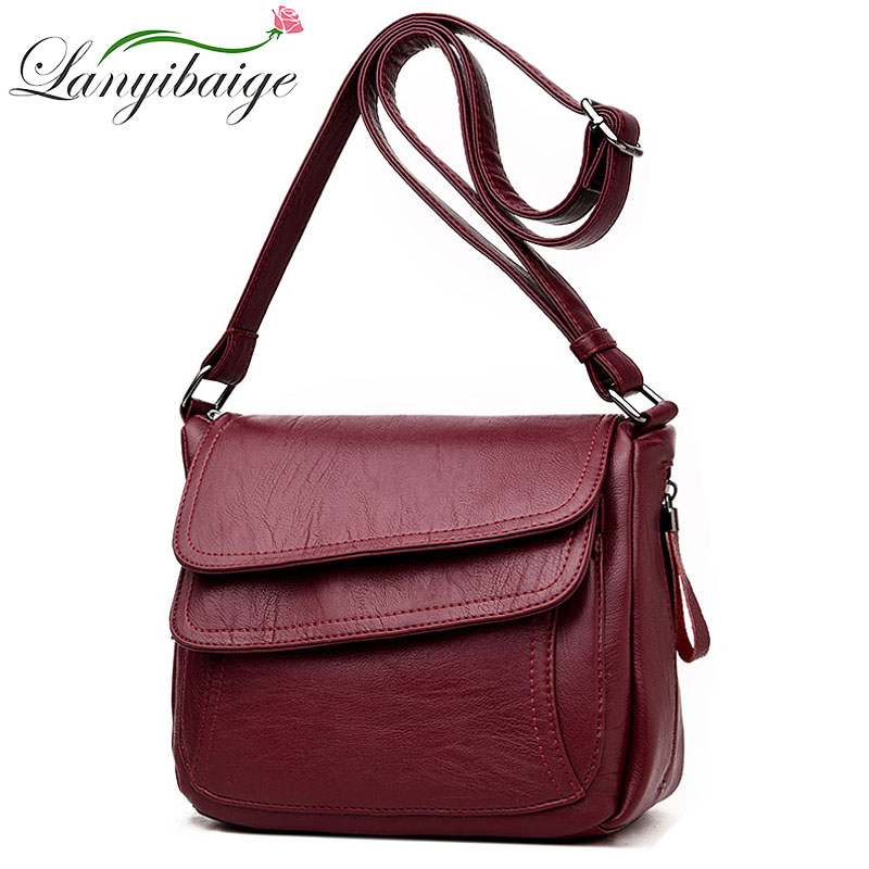 Hot Women Leather Messenger Bag Luxury Handbags Designer High Quality Female Vintage Crossbody Bags For Women Flap Shoulder Bags