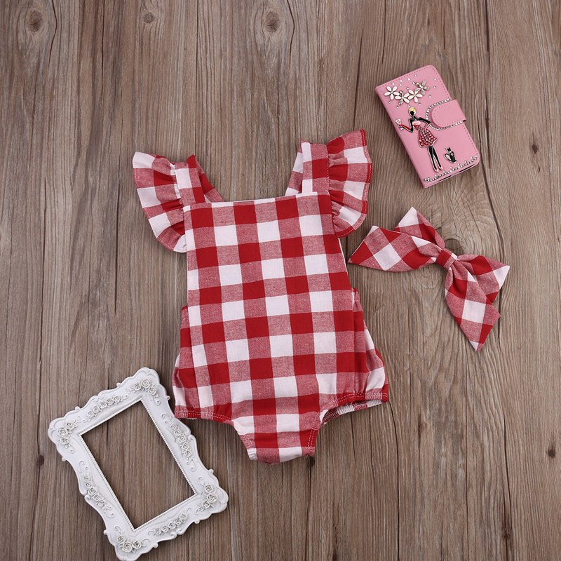 Summer 2017 Kids Baby Girl Red Plaid Romper Fly Sleeve Cross Jumpsuit Bowknot Headband Outfit Clothes 0-18M AU