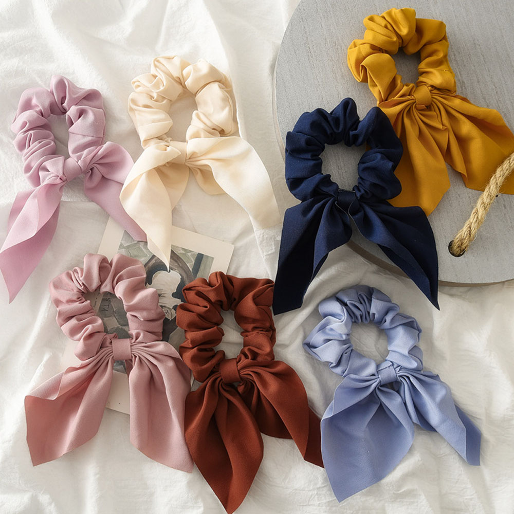 2019 New Candy Color Women Chiffon Hair Bow Elastic Hair Bands Ponytail Holder Scrunchie Rubber Bands Fashion Hair Accessories