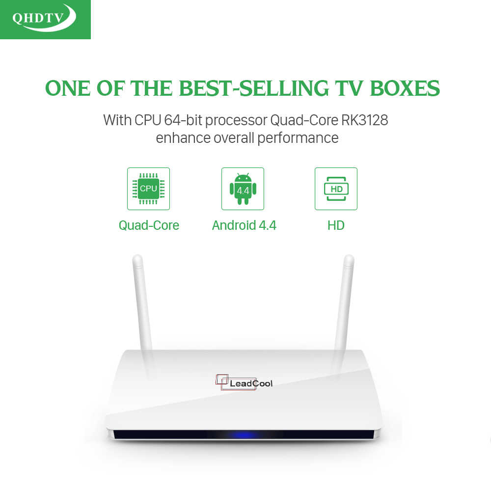 Popular Leadcool IPTV 1 año suscripción QHDTV Europa árabe Francia 1300 canales Smart Media Player Android 8,1 francés IPTV TV Box