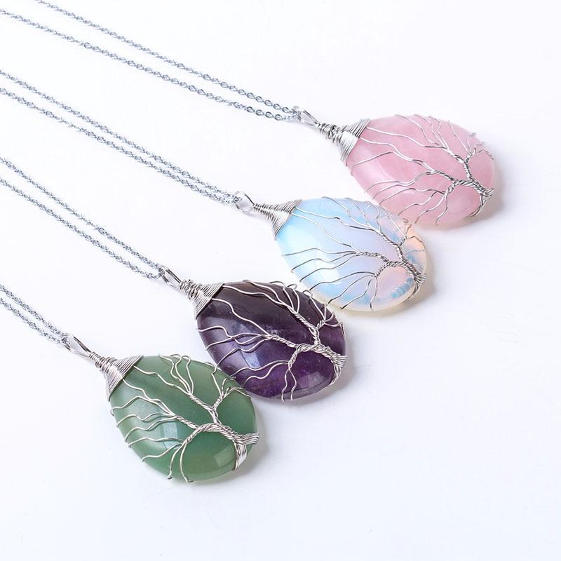 Colar de pingente de árvore de pedra Natural da vida Winding envolvido em forma de gota de cristal chakra opal colares para as mulheres presente de natal