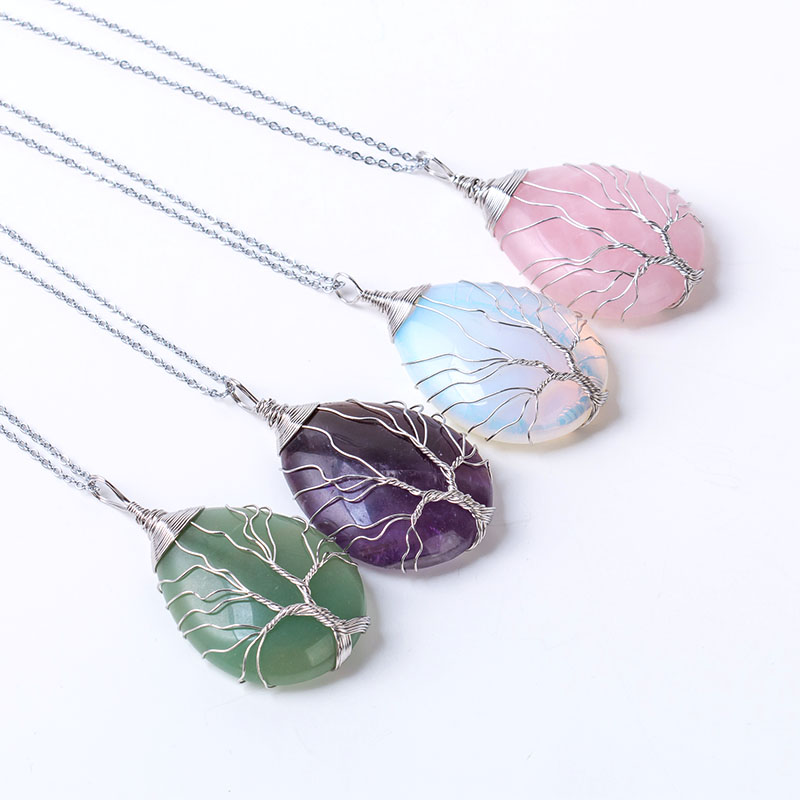 Natural stone tree of life pendant necklace Winding wrapped drop shaped crystal opal chakra necklaces for women christmas gift