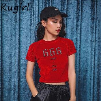 Maneras I Rojo Camiseta Print Recortada Casual Love Delgada Crop Sexy Tops Top Harajuku You Mujeres Básica Vintage Terciopelo 666 iOXZuTPk