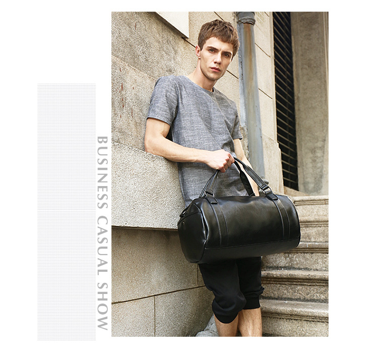 Hot Top Quality Men Classic Soft PU Sports Gym Bags Cylindrical Training Bag Designer Shoulder Outdoor Travel HandBag