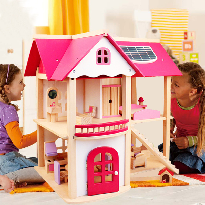 7 kg Girls Wooden Houses Pretend Toy Wooden Doll House Kids Wooden Doll Villa with Doll