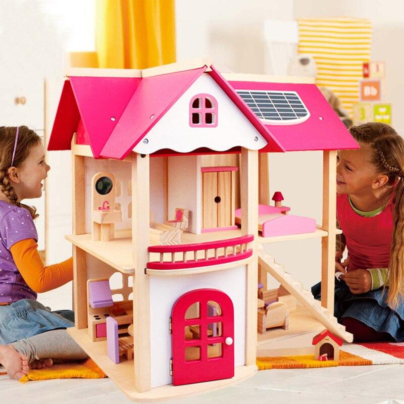 7 kg filles maisons en bois semblant jouet maison de poupée en bois/enfants Villa de poupée en bois avec des meubles de salle de poupée cadeau d'anniversaire