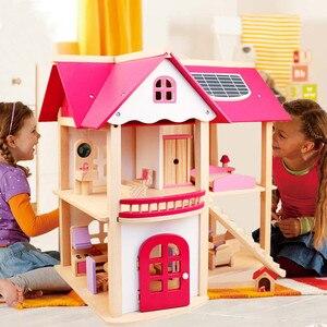 Image 1 - Maisons de poupée en bois pour filles, jouet de poupée en bois, maison pour enfants, Villa avec meubles de chambre de poupée, cadeau danniversaire, 7 kg