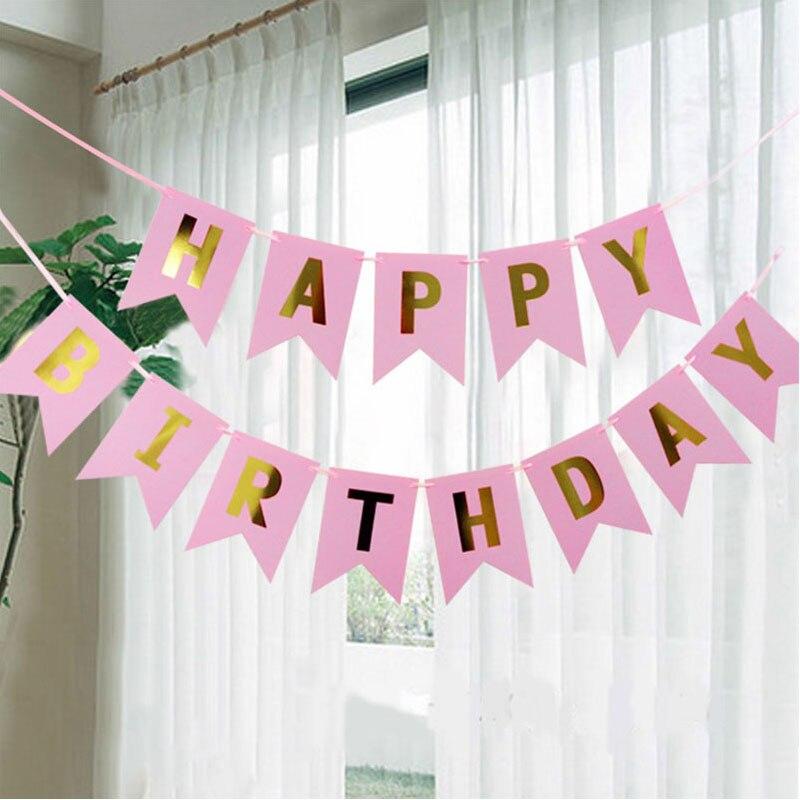 Dovetail Shape Happy Birthday Banner Garland Hanging Photo