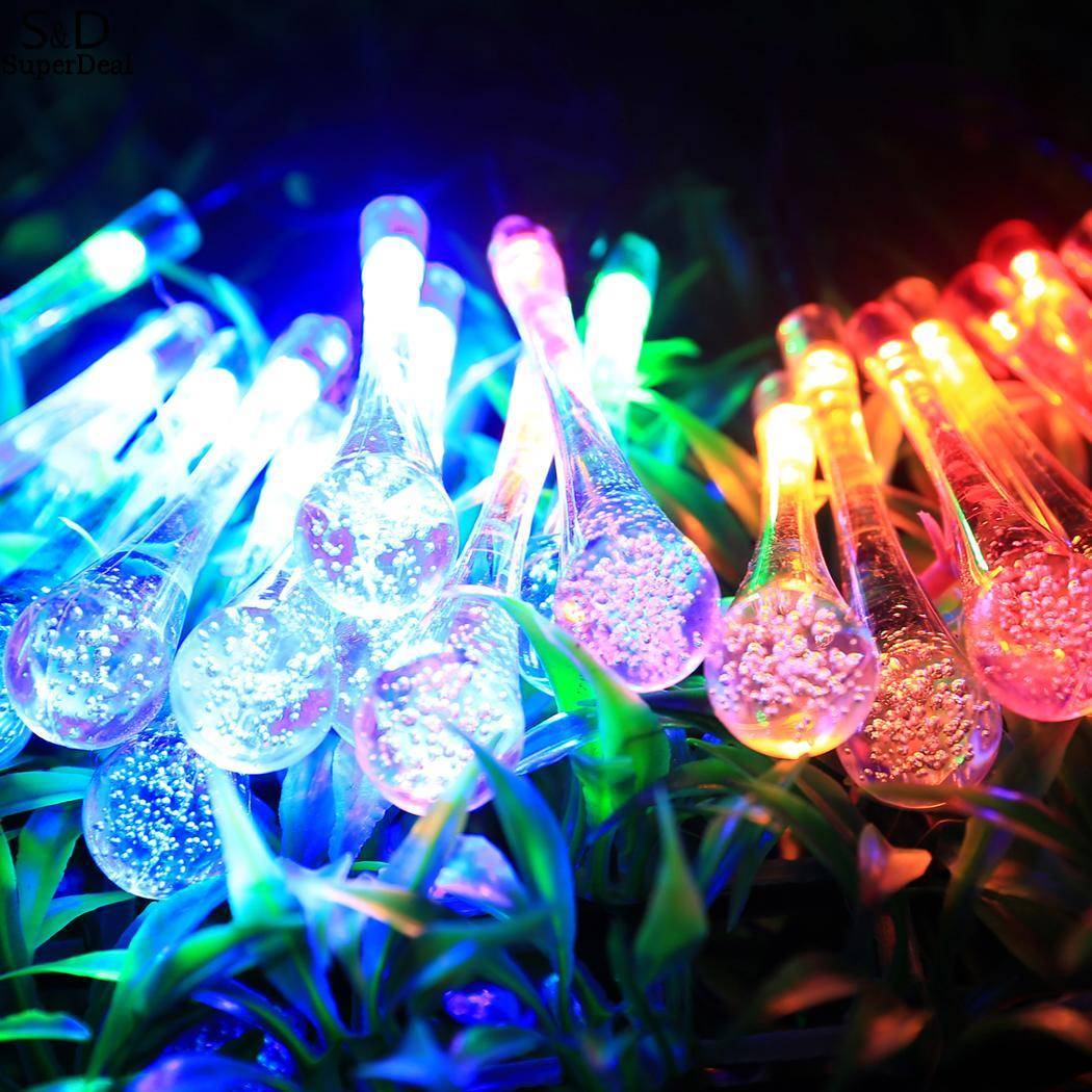Water Fashoin Solar Powered 20 New Drop Shape LED String Lights Solar Decor Lights