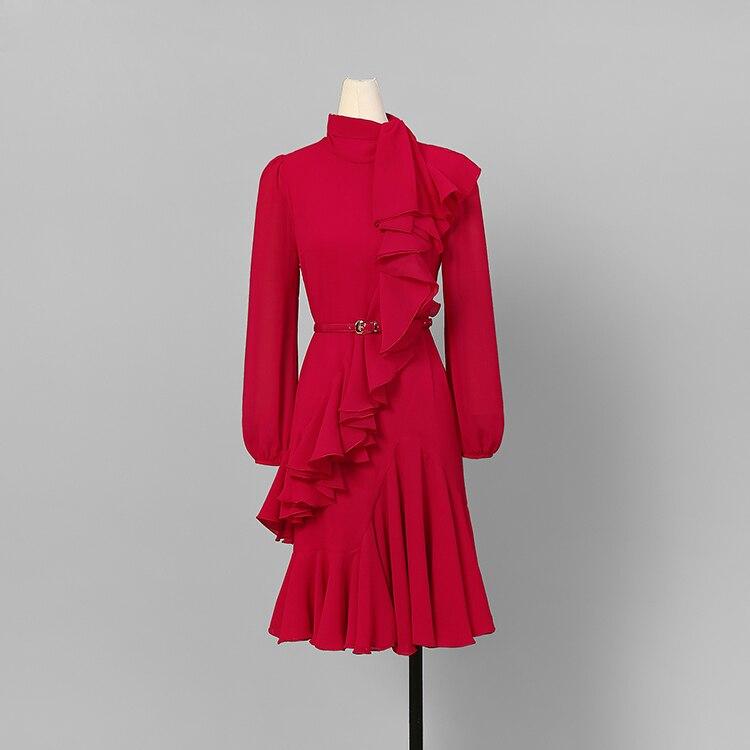 Volants Designer Manches Automne 2018 À Femmes Arc De Col Genou Nouvelle Sash Robe Rouge Longues C1820 Mode Du Avec Élégantes Dessus zFOxIwfqw