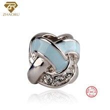 Zhaoru Authentic 925 Sterling Silver Enamal Pendant Charm Fit Bracelet & Bangle Necklace DIY Fine Jewelry Stone Bead