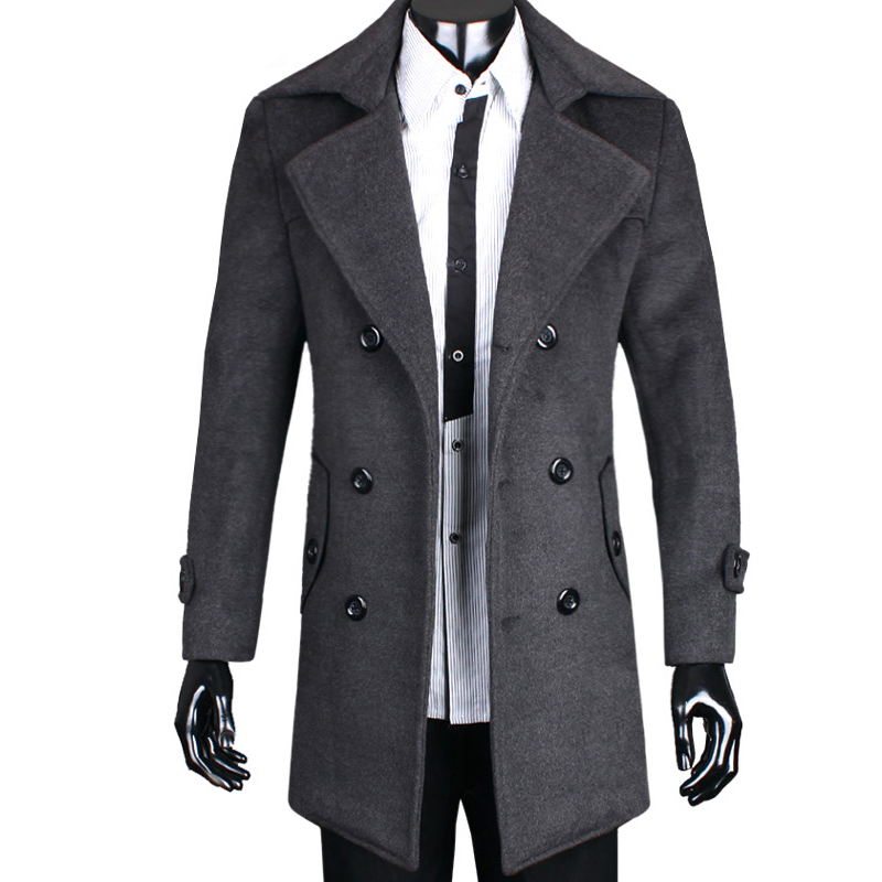 Popular Double Breasted Trench Coat Men Wool-Buy Cheap Double