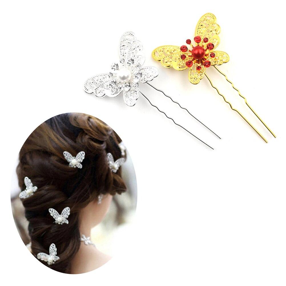 6 Stücke Frauen Haar Sticks Hochzeit Braut Brautjungfer Rhinstone Kristall Haar Pins Clips Schmetterling Typ U Design Kamm Haar Zubehör