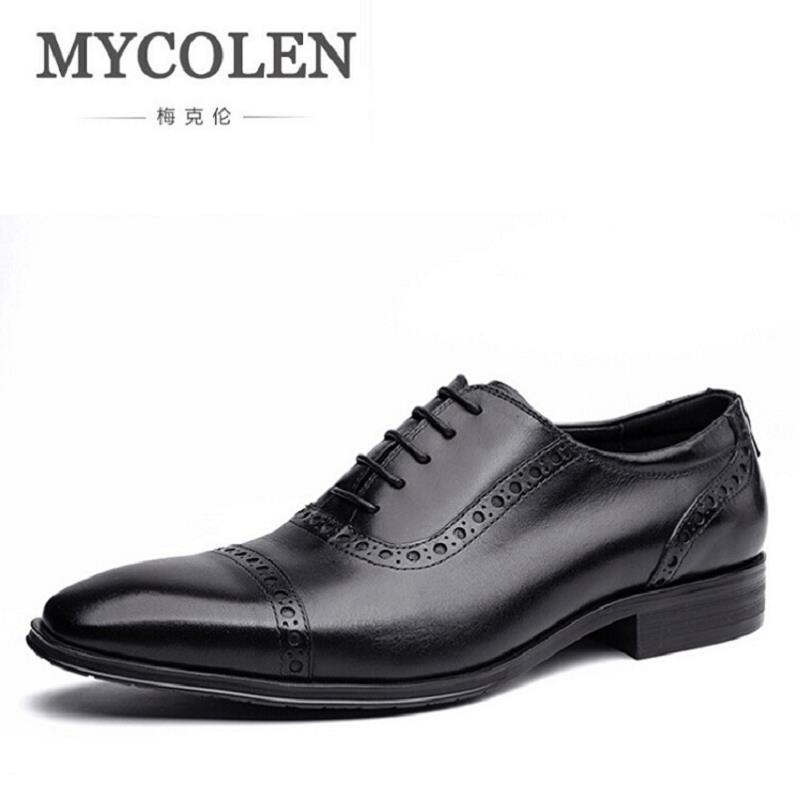 MYCOLEN Black Mens Wedding Shoes Genuine Leather Bullock Dress Shoes Luxury Business Formal Oxfords Shoes tenis masculino adulto mycolen mens shoes round toe dress glossy wedding shoes patent leather luxury brand oxfords shoes black business footwear