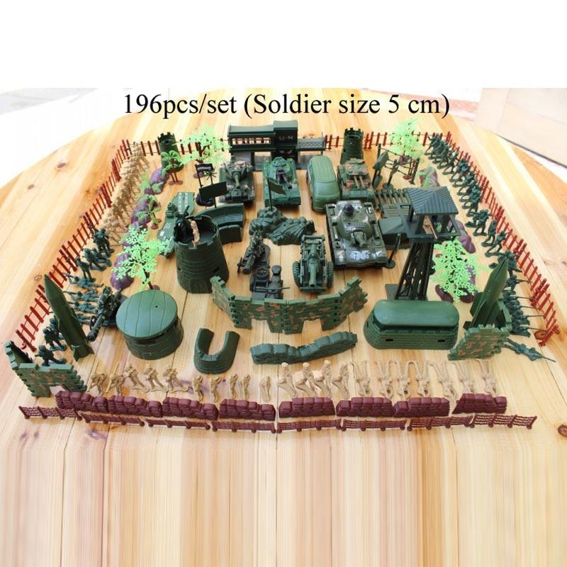 送料無料ミリタリーベース196ピース/セットプラスチック玩具兵士は5センチ兵士砂テーブルモデル陸軍兵士クリスマスプレゼント