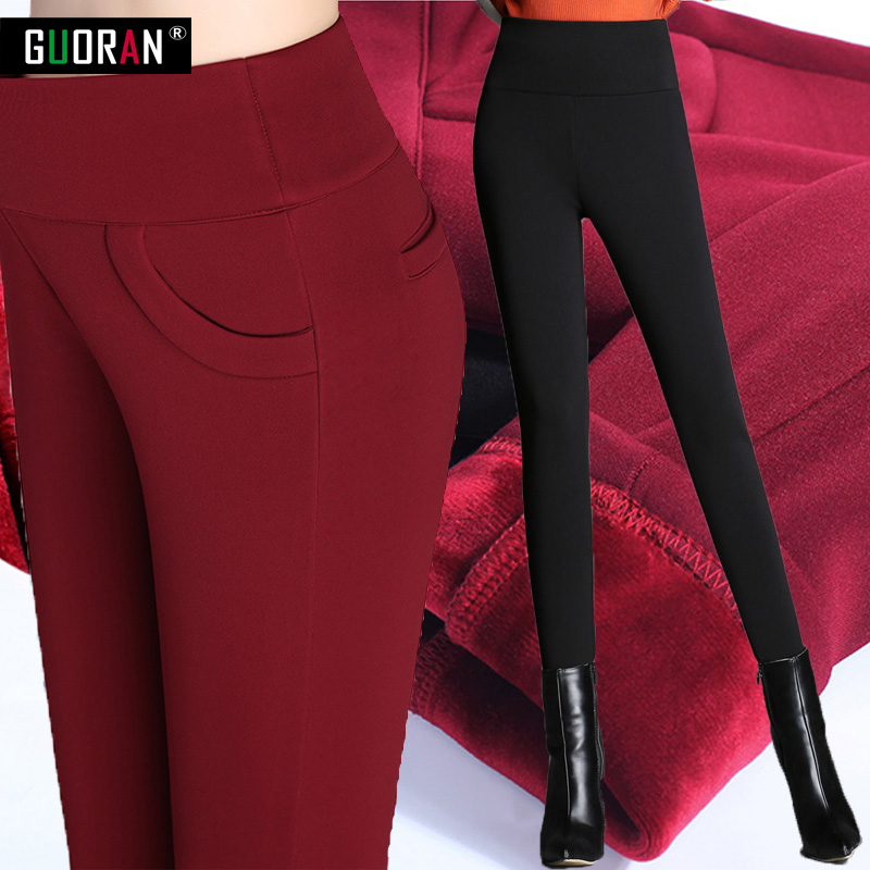 Hot sale 2016 women pants of the large size women stretch pencil pants plus warm pants capris feet plus size 5XL trousers women