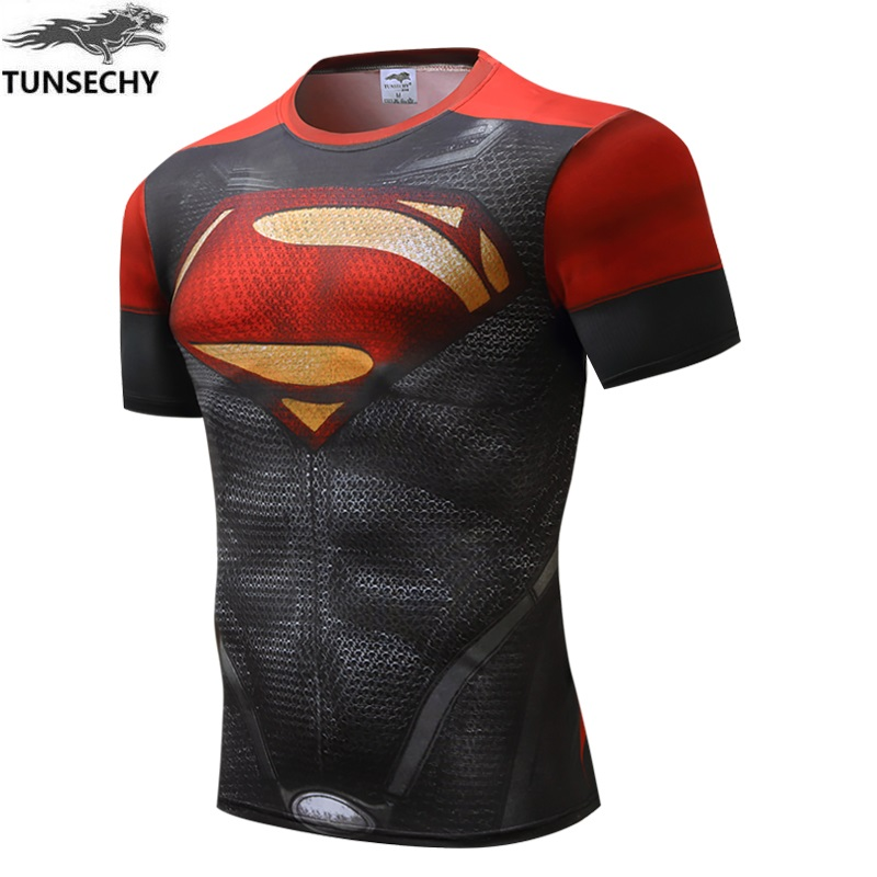 2018 Superman compression shirt fitness tights crossfit quick dry short sleeve t shirt Summer Men tee tops clothing casual tops