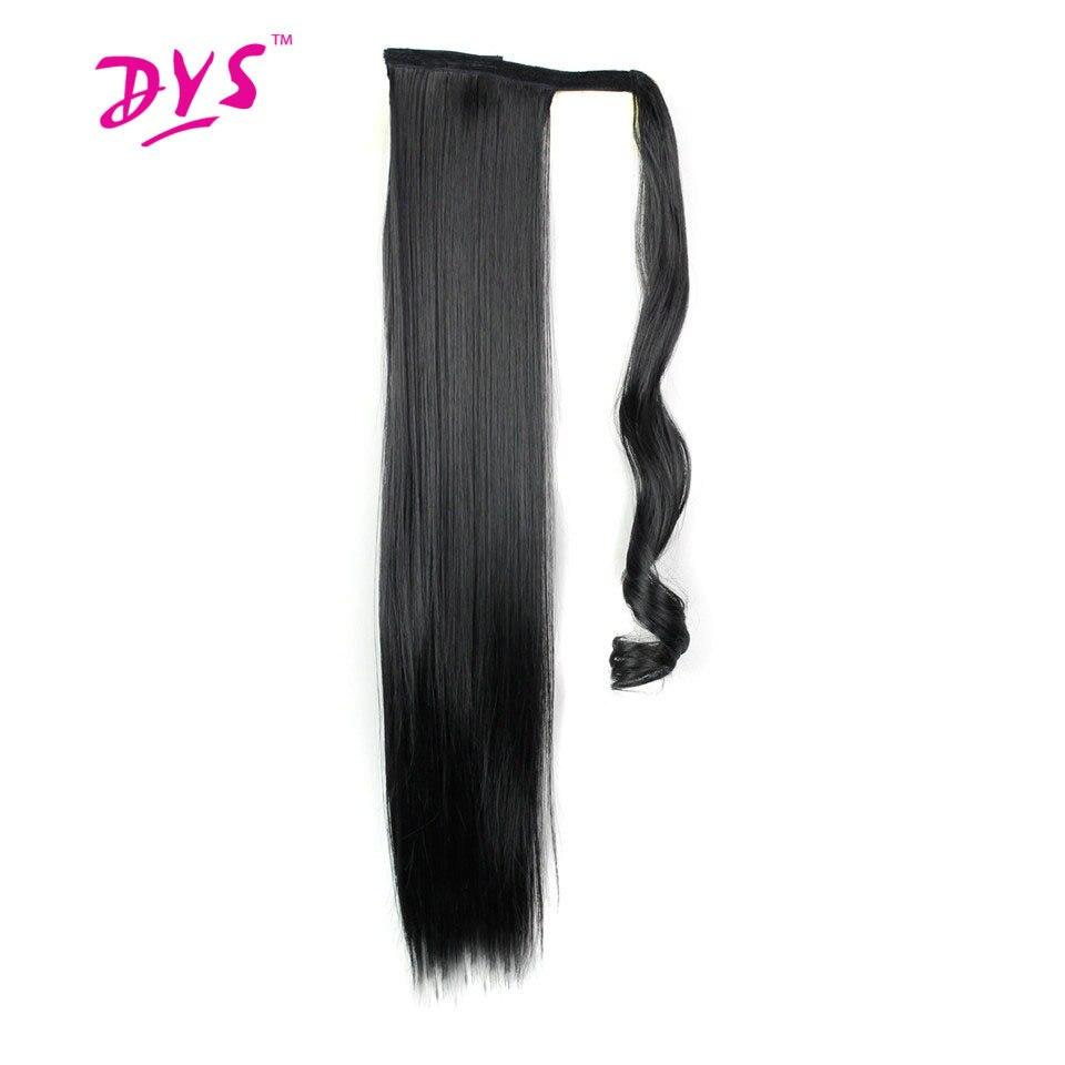 Deyngs 60 cm largo Clip recto en el pelo de la cola falsa pelo de cola de caballo peluca con horquillas de pelo sintético de cola de caballo de pelo extensiones de