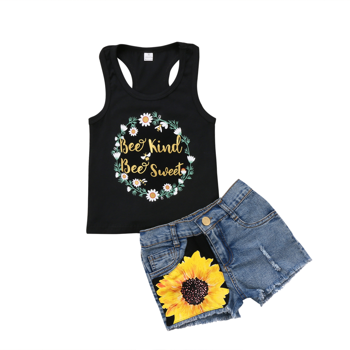 7968015ceca7 2Pcs Cute Baby Girl Kids Toddler Outfits Clothes Sleeveless T-shirt Tops  Sunflower Short Jeans Sunsuit Clothes Set