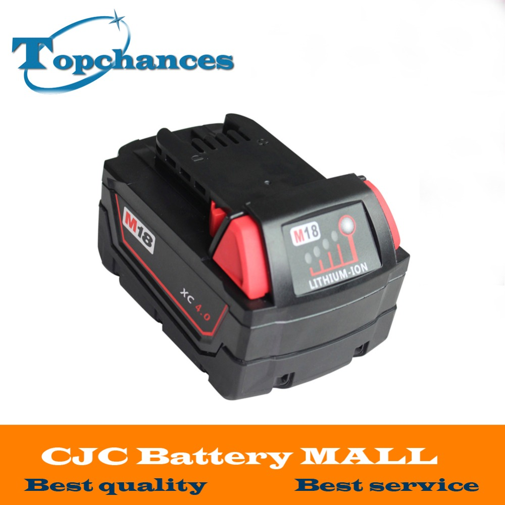 High quality New 18V 4.0Li-Ion 4000mAh Replacement Power Tool Battery for Milwaukee M18 XC 48-11-1815 M18B2 M18B4 M18BX Li18 18v li ion 3000mah replacement power tool battery for milwaukee m18 xc 48 11 1815 m18b2 m18b4 m18bx li18 with power charger