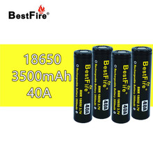 4 pcs Bestfire18650 נטענת סוללה 3.7 V 3500 mAh 40A עבור סמוק X Priv Alien AL85 Majesty Vape Mod קיט VS ICR18650 VTC6 B014