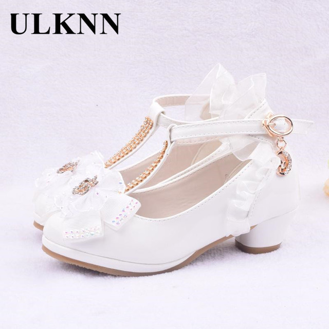ULKNN Children Party Leather Shoes Girls PU Low Heel Lace Flower Kids Shoes For Girls Single Shoes Dance Dress shoe White Pink